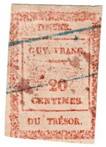 (I.B) France Colonial Revenue : Guyana Treasury 20c