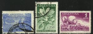 Argentina 1956 Scott# 654-656 Used