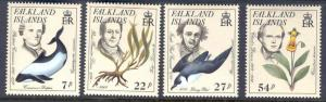 FALKLAND ISLANDS 433-6 MNH PHILIBERT COMMERSON, DOLPHIN