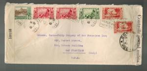 1942 Papeete Tahiti Dual Censored Cover to USA Commercial