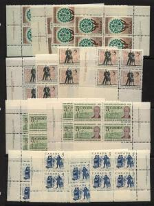 Canada - 1961-1962 Commem. USC #395-398 Plate Blocks mint F+-VF-NH
