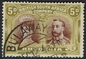 RHODESIA 1910 KGV DOUBLE HEAD 5D PERF 14 USED