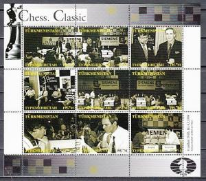 Turkmenistan, 1999 Russian Local. Chess Classics sheet of 9.