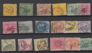 Western Australia Unchecked Swan Collection Of 18 Fine Used JK6313