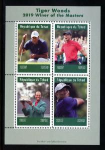 CHAD  2019  TIGER WOODS MASTERS WINNER SHEET OF FOUR  MINT NH