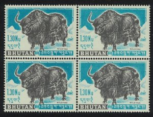 Bhutan Wild Yak Key Value Block of 4 SG#7 MI#11