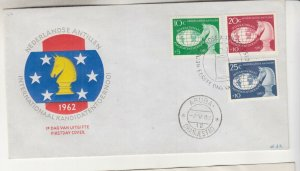 NETHERLANDS ANTILLES,1962 Chess Tournament set of 3 on First Day cover