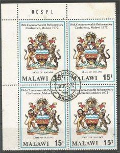 MALAWI 1972, CTO 15t, block, Malawi Coat of Arms Scott 194