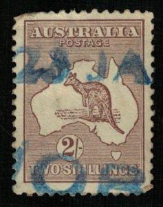 1913, Kangaroo and Map, 2Sh, Perf. 11 1/2x 12, Australia (T-9733)