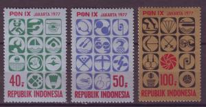 J21081 Jlstamps 1977 indonesia set mh #1001-3 sports