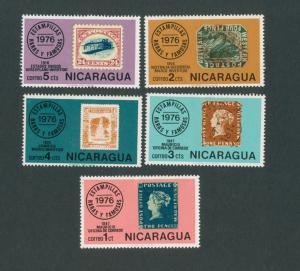 Nicaragua 1976 Postal anniversay set of 5   Mint Hinged