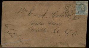CSA #6 Civil War Confederate 5c Jefferson Davis Savannah CH GA Cover 92712