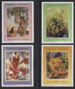 French Polynesia #606-9 MNH, set, various paintings, issued 1992