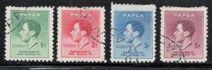 Papua New Guinea 1937 Coronation Scott # 118 - 121 Used