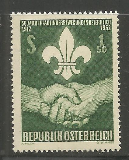 AUSTRIA 684 MNH, SCOUT EMBLEM AND HANDSHAKE