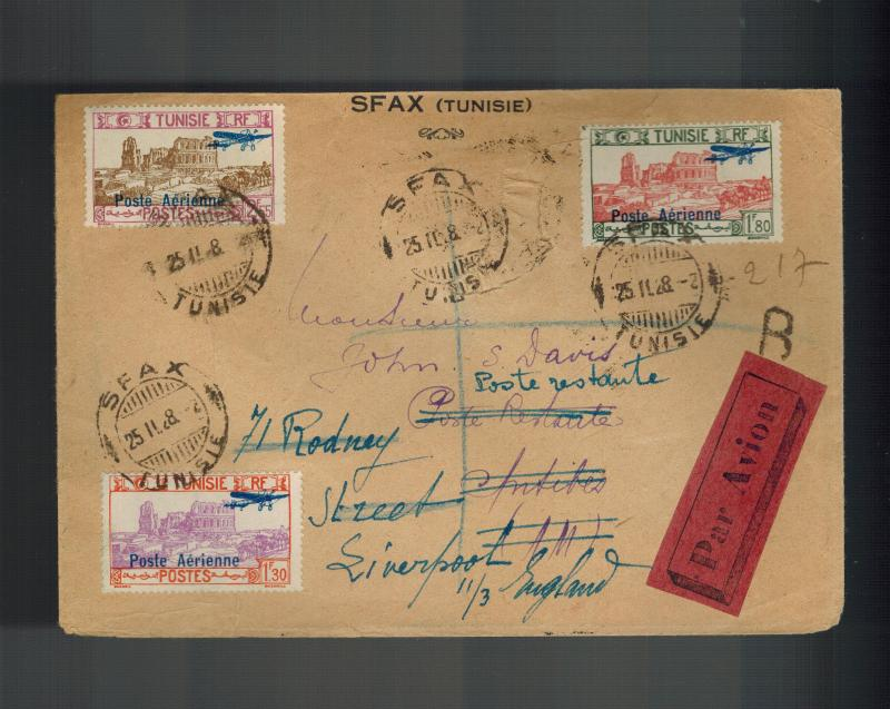 1928 SFAX Tunisia Airmail Cover to England Forwarded # C7-C9