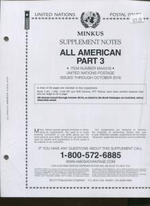 2016 MINKUS All American Part 3 Supplement Stamp Collector Album Pages MAA316