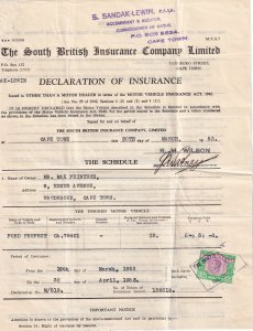 South Africa 1953 Car Insurance With Revenue Stamp (Z4236L)