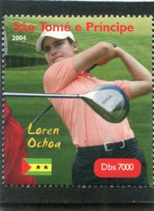 Sao Tome & principe 2004 GOLF Loren Ochoa Mexican 1v Perforated Mint (NH)