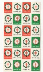 Canada Christmas TB Seals 1980 Sheet of 24 MNH
