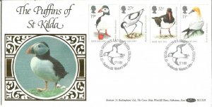 The Puffins Of St Kilda 1989 Western Isles Benham Official First Day Cover U3459