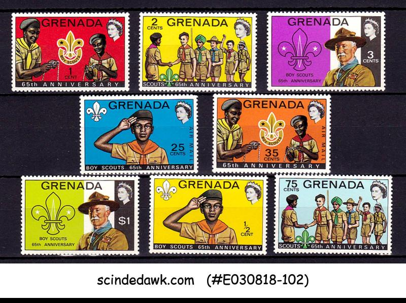 GRENADA - 1972 65th ANNIVERARY OF BOY SCOUTS - 8V - MINT NH