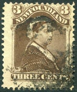 NEWFOUNDLAND-1896-98 3c Chocolate Brown Sg 65a AVERAGE USED V30305