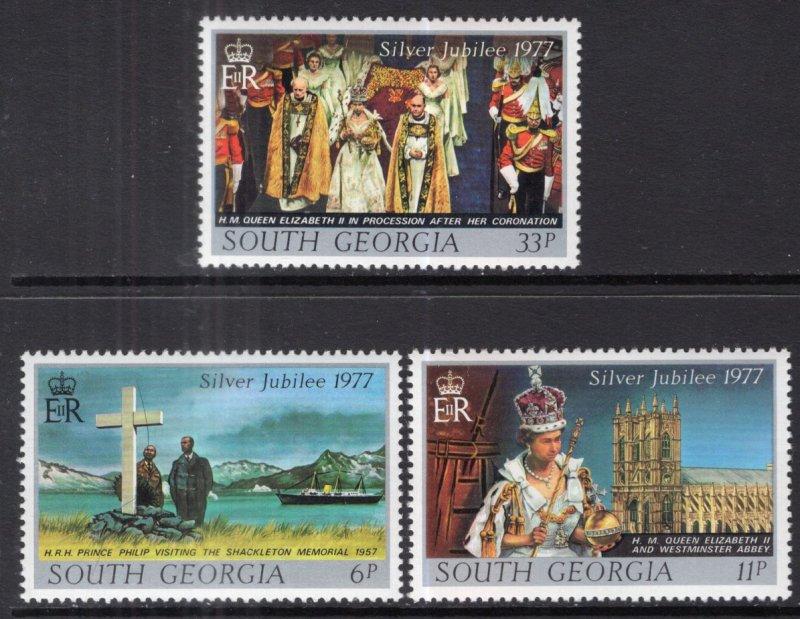 South Georgia MNH 48-50 Silver Jubilee QE II 1977