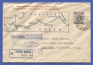 HONG KONG CHINA 1937 FAM-14 Clipper Reg. First Flight to San Francisco, $3 solo