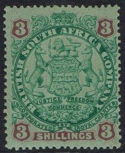RHODESIA 1896 ARMS 3/-