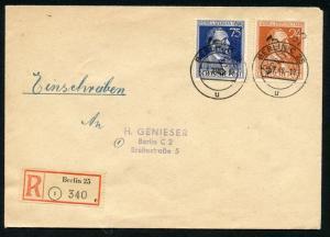 GERMANY SOVIET ZONE 3 BERLIN 25 MI# IIIaI-IIIbI R-COVER BERLIN 7/3/48 TO BERLIN