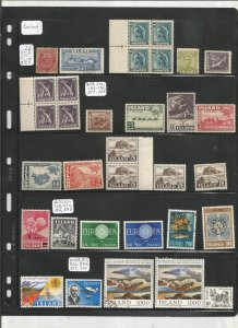 ICELAND COLLECTION ON STOCK SHEET, MINT/USED