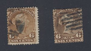 2x Canada  Large Queen Used Stamps #27-6c Fine #27a-6c VG Guide Value = $90.00