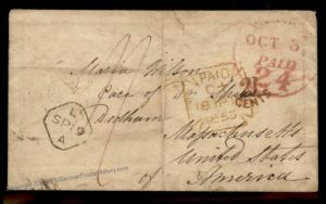 England Britain 1853 Dedham MA USA Transatlantic Stampless Cover 77669