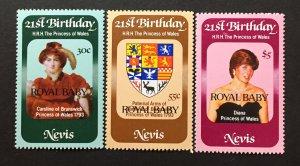 Nevis 1982 #153-5, MNH, CV $2