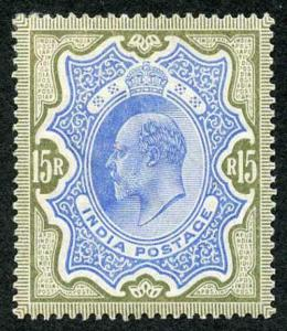 India SG146 1909 KEVII 15r blue and olive-brown M/M with fine colour