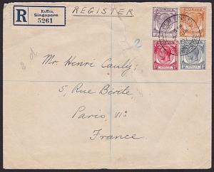 SINGAPORE STRAITS SETTLEMENTS 1937 Registered cover RAFFLES INSTITUTE.......6041