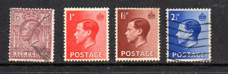 Gret Britain 195,230,232-3 Mint and Used CV $3.35