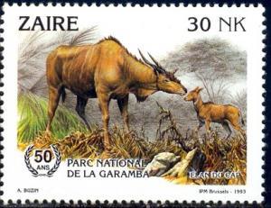Cape Eland, Natl. Game Parks, 50th Anniv., Zaire SC#1403 MNH