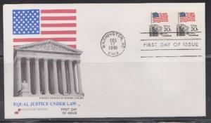 1895 Flag over Supreme Court coil pair Unaddressed Spectrum FDC