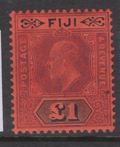 FIJI SG124 1912 £1 PURPLE & BLACK/RED MTD MINT