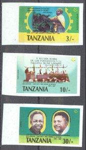 Tanzania Sc# 361-363 MNH IMPERF (ERROR) 1987 3sh-30sh Arush Declaration 20th