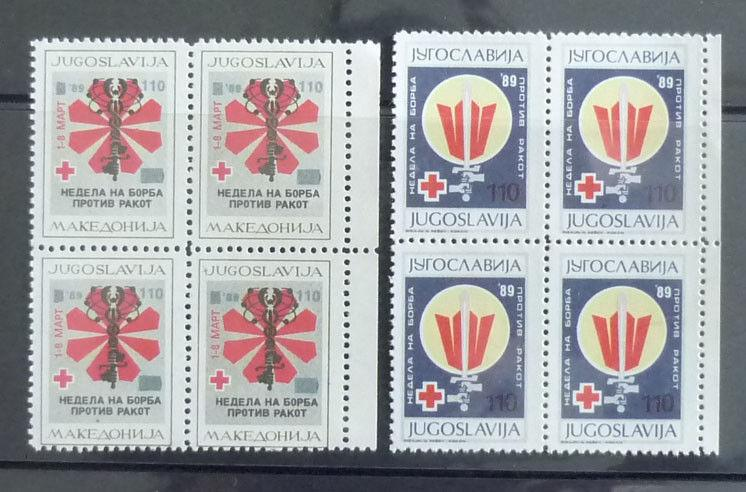 1989 YUGOSLAVIA-MACEDONIA-COMPLETE SET (MNH)-RED CROSS-BLOCKS OF 4 R! cancer J1
