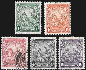 Barbados SC 194,195,195a,198,199 * Colony Seal Medium Format * Used * 1938