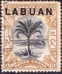 LABUAN 1894 3 Cents Black & Grey-Mauve SG62b FU