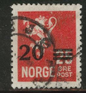 Norway Scott 131 used 1928 surcharged stamp