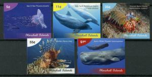 Marshall Islands 2019 MNH Marine Life Definitives 5v IMPF Set Fish Whales Stamps