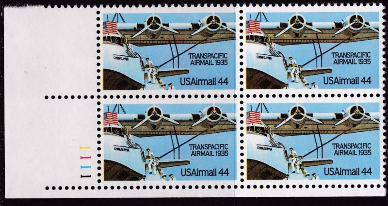 United States 1985  44cent Transpacific Airmail Plate Number Block. VF/NH