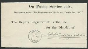 TASMANIA 1911 OHMS folded birth notice OUSE to Hamilton....................58926