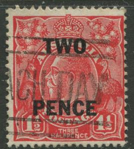 Australia - Scott 106 - KGV Head Overprint-1930 - Used - 2p on a 1.1/2p Stamp